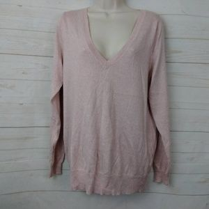 Mossimo Pink V Neck Sparkly Sweater XXL